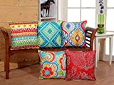 RD TREND Digital Printed Polyester Blend Jute Cushion Covers Set of 5 -16 x 16 inch (RED)