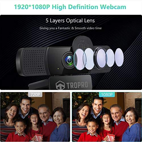 TROPRO Webcam mit Stereo Mikrofon 1080P Full HD Computer Camera für PC mit Abdeckung, Erweiterbares Stativ USB Web Kamera für Video Calls Skype Zoom