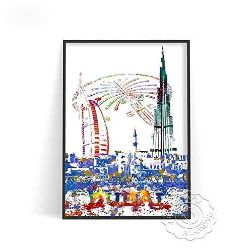linbindeshoop Color World City Poster York Paris Moscow Wall Art Dubai Roma Wall Stickers San Francisco Rio De Janeiro Travel Poster(LT-384) 50x70cm No frame