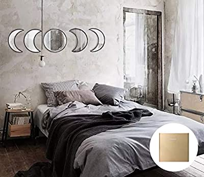 YUBAIHUI Scandinavian Bohemian Home Wall Decor Moon Phase Decorative Mirror Set Acrylic Bedroom Decoration Self Adhesive Ornament Living Room Decor (Black)