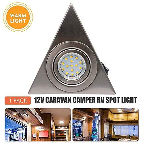 Luz interior de RV - Riloer Luz LED de Techo para Techo DC 12V 9W Downlight para Autocaravana Caravana Cromo Barco Cálido Blanco-220V Cálido 2P
