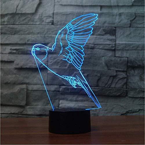 Lámpara de mesita de noche con luz táctil 3D Loro volador Luz 3D 7 colores LED Luz nocturna para niños Lámpara de mesa USB LED táctil Lampa Light Baby Sleep Luz nocturna Luz para niños
