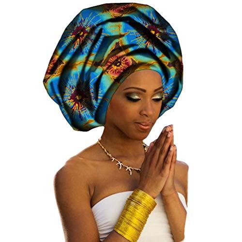 PengGengA Turban de Femmes Style National Foulard en Coton Tête Echarpe Longue avec Africaine Impression Element Headwraps (Style#18, 50 * 180cm)