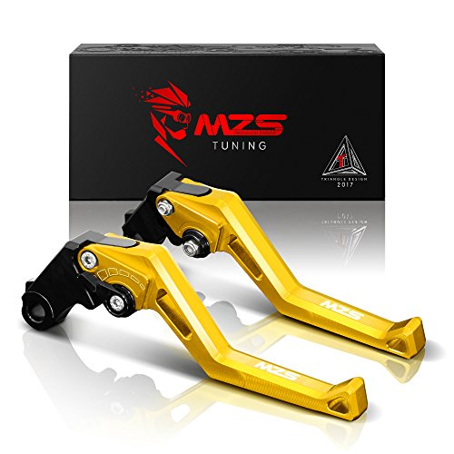 MZS Short Levers Adjustment Brake Clutch CNC Compatible with Yamaha YZF R6 YZF-R6 2005-2016| YZF R1 YZF-R1 2004-2008 Gold