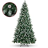 Best Choice Products 7.5ft Pre-Decorated Holiday Christmas Pine Tree w/ 1,346 Branch Tips, Partially Flocked, Metal Base