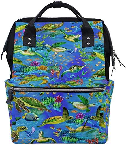 Underwater World Rainbow Seaturtles Grand sac à langer de voyage pour allaitement Sac à dos maman