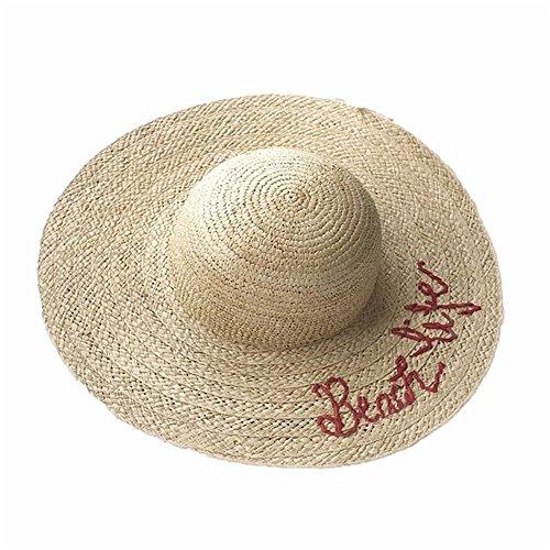 LTH-GD Gorra de Invierno y Sombrero Primavera y Verano Estacional Tejido de césped Letra Bordada a Mano Grande a lo Largo del Sombrero de Paja Sombrero de señora Beach Sun