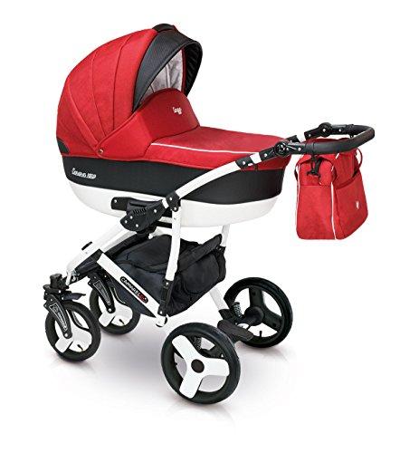 Lux4kids Cochecito 3 in 1 Silla de paseo + capazo + silla para coche + rutas giratorias neumática - giratorias + colchón + accesorios opcionales VIP Hecho en Europa Carera negro rojo satinado