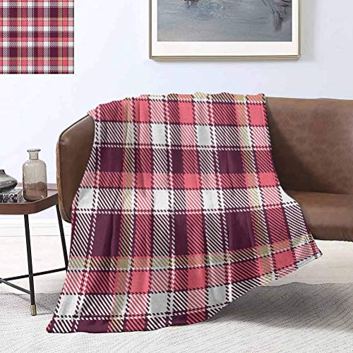 RenteriaDecor Checkered Plush Blanket Old Fashioned Style Garment Pattern Traditional Plaid Geometric Squares 60x80 Inch Super Soft Cozy Luxury Bed Blanket Microfiber