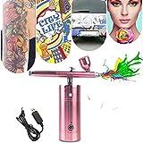 WWWNNUUUX Set de Pistola Recargable, Kit de la Bomba Mini compresor de Aire portátil para el Maquillaje, decoración de Pasteles, Clavos del Arte, Pintura