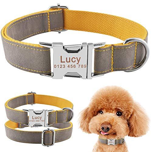 Collar de Perro Personalizado Duradero Etiquetas de identificación de Pelusa Perros Grabado XS SM L-S_26-40cm__