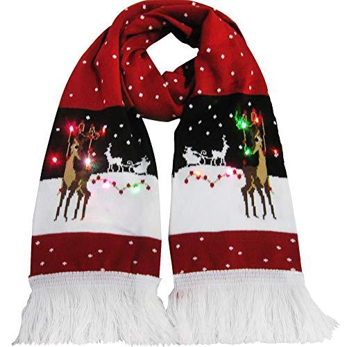 iYoung La Bufanda Bufanda de Brillo navideño Bufanda de Punto Caliente Regalo de cumpleaños Accesorios Decorados con Borla Bufanda Luminosa Bufanda de Borla de Punto Caliente para