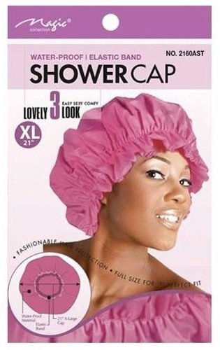 Magic X-Large Elastic Band Shower Cap – Rose vif, Elastic Band, Keeps Hair in Place Large, extra large, comfortable Matière, Waterproof, Full Size, Perfect Fit by Magic