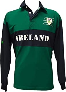 Lansdowne Navy/Green Pique Long Sleeve Ireland Rugby Shirt