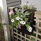 Delectable Garden Cloth 2 Pocket Saddlebag Hanging Vertical Garden Fence Bag Planter Pocket for Yard and Garden Home Decoration-Hangs Flowers on Both Sides of The Fence