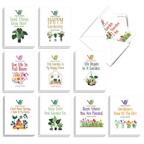 The Best Card Company - 20 All Occasion Note Cards (4 x 5.12 Inch) - Blank Boxed Set (10 Designs, 2 Each) - Crazy Plant Lady AM7163OCB-B2x10