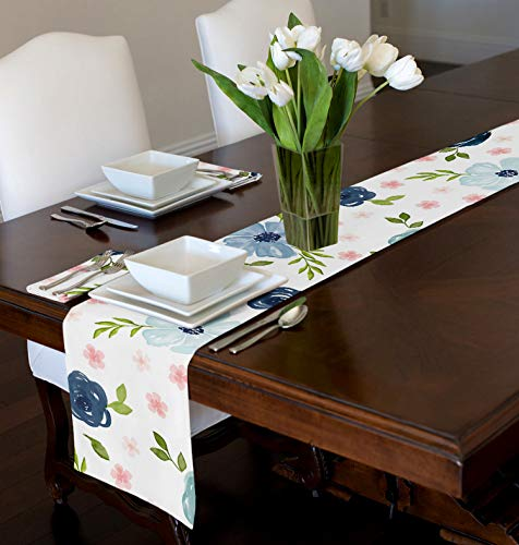 A LuxeHome Blush Pink, Green, Navy Blue Shabby Chic Watercolor Rose Floral Tablerunner Mat Topper Dining Room Kitchen Console 72'