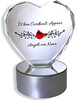 BANBERRY DESIGNS Light up LED Memorial Heart – When Cardinals Appear Angels are Near - Etched