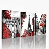 Black and white landscape painting Wall Decorations for Living Room Bathroom wall art Bedroom Wall decor 3 Pieces Framed Canvas print modern Home Decoration Street view red garden Pictures Artwork