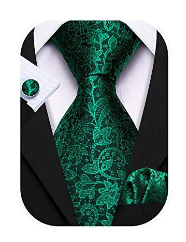 Barry.Wang Emerald Green Ties Silk Flower Paisley Necktie for Men Set Wedding St. Patrick's Day