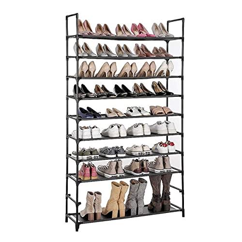 ARONTIME Zapatero de 10 niveles, zapatero negro, colgador de zapatos multifuncional, almacenamiento de dormitorio doméstico