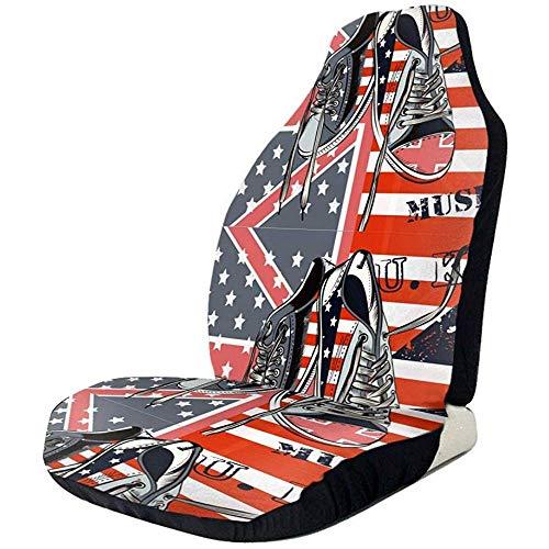Sneakers Met Usa En Britse Vlaggen Zwart Mode Auto Stoelhoezen Voorstoelen