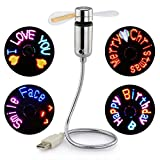 Small USB Fan with Cool Message Display, SAYTAY Programmable USB LED Personal Portable Fan, As Decoration Or Holiday Gift for Home & Office(New RGB version)