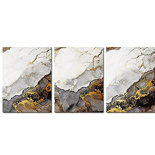 Impresiones en lienzo Tinta dorada y en escala de grises Salpicadura de humo Ondas oscuras Arte de pared fluido Pintura moderna Decoración de sala de estar 15.7 'x23.6' (40x60cm) 3 piezas Sin marco