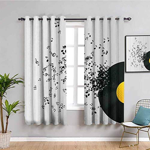 Music Decor Premium Blackout Curtains Abstract Music Illustration Flying Music Notes Disc Album Dancing Nightclub Waterproof Fabric Ivory Black and Yellow W52 x L84 Inch