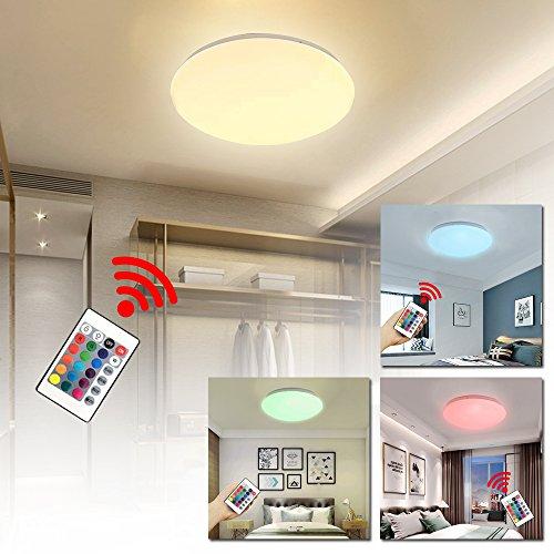 Ouhigher 15W Dimmbar LED Deckenleuchte RGB mit Fernbedienung - Runde Deckenlampe für Schlafzimmer Wohnzimmer Kinderzimmer