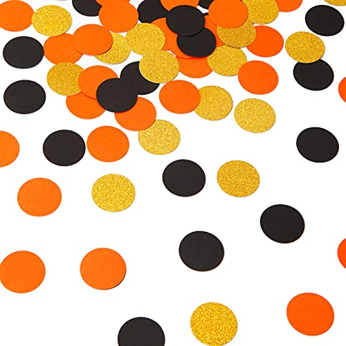 300pcs Glitter Black Orange Gold Confetti Halloween Graduation 2021 Decorations Paper Table Confetti Candy Packaging Biodegradable Sprinkles Circle Dots Birthday Party Decor Lasting Surprise