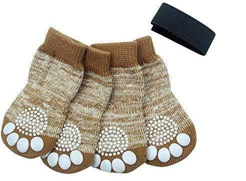 PUPTECK Anti-Slip Dog Socks Pet Paw Protection for Indoor Wear Medium