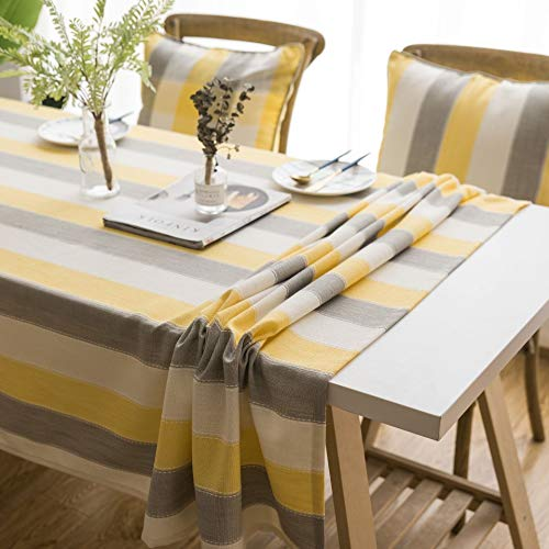 Xiaokai Mantel nórdica Rayas Impermeable Mantel Mantel Mantel Moderno Minimalista Cubierta de Tela Impermeable y antiincrustante (Color : Yellow, Size : 90x90cm)