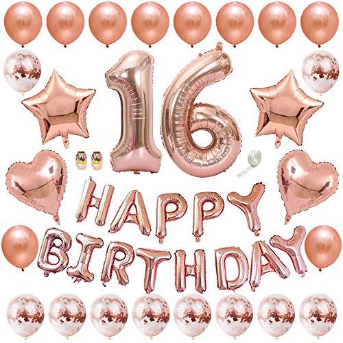 Huture 16 Suministros de Fiesta Cumpleaños Globo de Aluminio Oro Rosa Número 16 Happy Birthday Banner Globo Kit Globo de Confeti de Látex Metálico Globo de Papel de Estrella Gran Regalo para Chicas