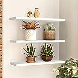 Floating Shelves Wall Mounted,Set of 3 Wall Storage Shelves,Home Display Shelf,Storage Rack for Kitchen Living Room Bathroom Bedroom,White