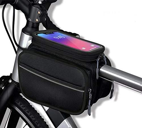 Borsetta Doppia Bicicletta, Borsa Impermeabile Manubrio Ciclismo, Portacellulare Multifunzionale da Bici per i Telefoni Fino a 6.5 Pollici. (Nero)