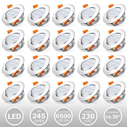 Hengda 20× LED da incasso per cartongesso, 3W Luce Bianco fredda 6500K 245LM Pari a 25W 230V, Faretti a led per interni Rotondo Orientabili di 30°Foro 60mm