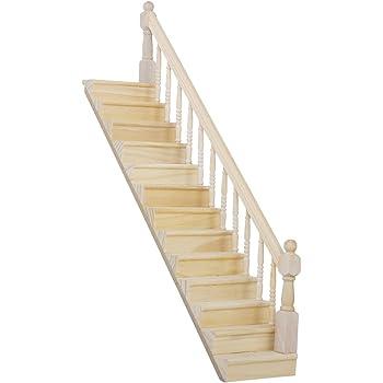Amazon.es: 1/12 Dollhouse Escalera de Madera para Casa de Muñecas ...