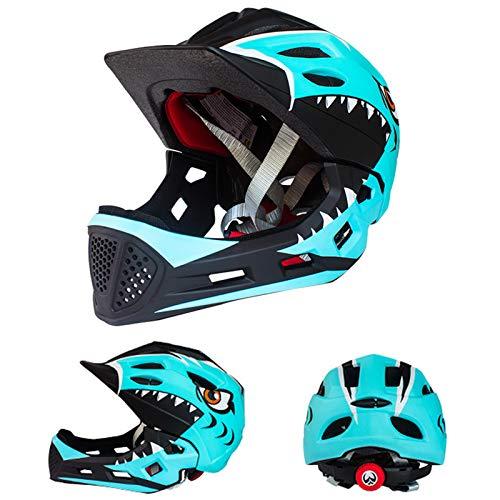 QYTK Kinder Fahrrad Integralhelm Fahrradhelm Abnehmbarem Kinnschutz für Junge Mädchen Kopfumfang Größe 48-54cm, Kinderhelm für Mountainbike Sicherheit Rollerhelm (Schwarz Hellblau)