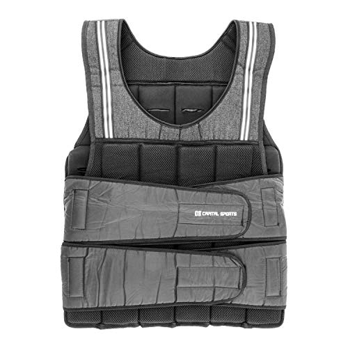 Capital Sports Vestpro 10 Weight Vest (10 KG, 23 Weights, Nylon Belt with Velcro Locks) Black