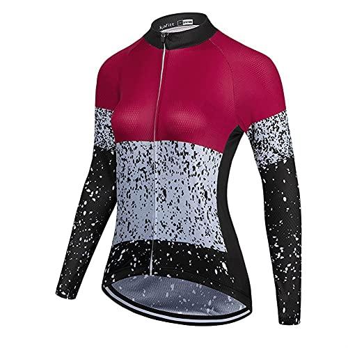 TRIATHLON Damen Radfahren Kleidung Set Hemd Sommer Langarm Jersey Bike Bluse Shorts GEL (Color : 2, Size : XS)