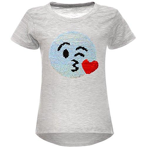 BEZLIT Mädchen Wende-Pailletten Stretch T-Shirt Smile-Motiv 22606 Grau Größe 152