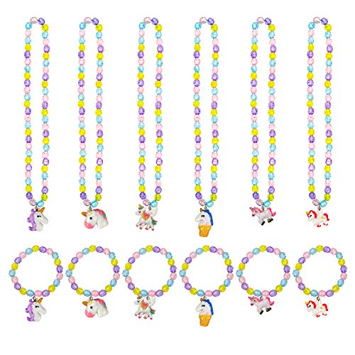 HOWAF Princesa Joyería para Niños Niñas, Unicornio Collares y Pulseras Niña Favor Joyería Niña Regalo de Cumpleaños de Fiesta, Juego de 12
