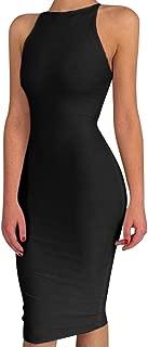 Women's Spaghetti Strap O Neck Bodycon Midi Club Party Dress