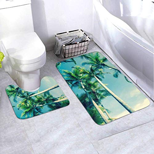 Bath Mat Set Retro Image Tropical Palm Swaying Gently 2 Piece Area Rug Set Includes Toilet Oval U-Shape Contoured Mat and Bathroom Rugs, Bath Rugs Washable Non Slip for Tub Shower