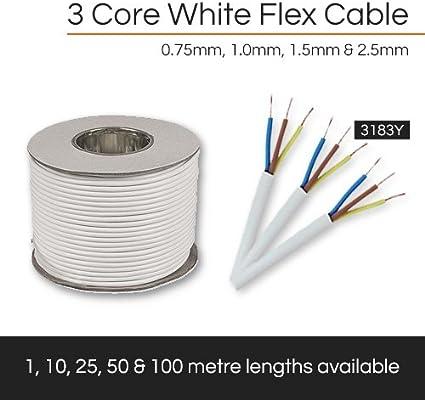 25 metre Cut Length 3 Core Round White Flex Flexible Cable 1 MM