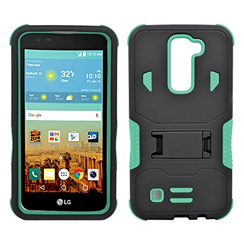 LG K7 Case, Heavy Duty Dual Layer Hybrid Case cover with Build In Kickstand Protective Case cover For LG K7 /Tribute 5 (T-Mobile, Sprint, Metro PCS, Boost Mobile) Black on Green