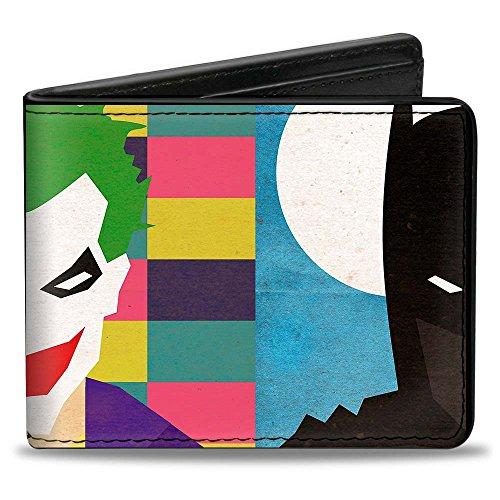Buckle-Down mens Buckle-down Pu Bifold - Joker/Batman Face Juxtaposition Multi Color/Blue/White Wallet, Multicolor, 4.0 x 3.5 US
