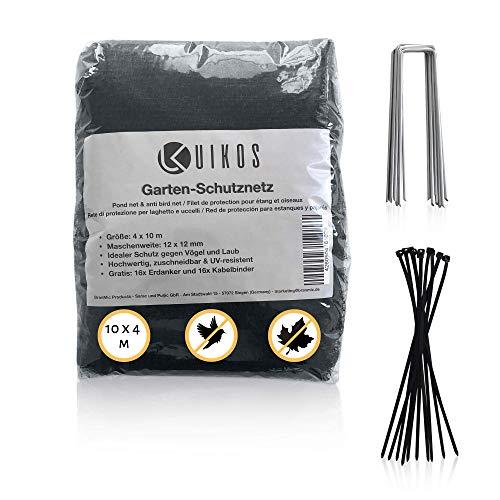 UIKOS 10 x 4 m Teichnetz feinmaschig (12 x 12 mm) - Farbe Schwarz - Vogelschutznetz - mit gratis 16 Erdhaken und 16 Kabelbindern
