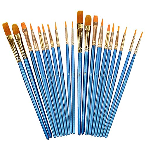 Xubox Acrylic Paint Brushes Set, 2 Pack 20 Pcs Hand Made All Purpose Nylon Hair Artist Paintbrushes, Acrylic Oil Watercolor Brushes for Body Face Nail Art, Rock Painting, Fine Detail Miniature, Blue